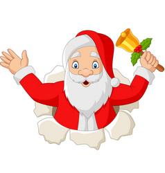 cartoon santa claus holding a bell vector image