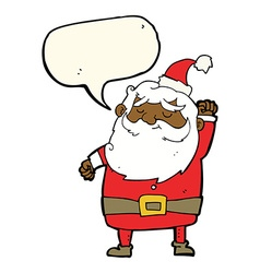Cartoon santa claus punching air with speech vector