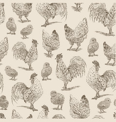 chicken rooster chickens sketch seamless pattern vector image