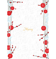 christmas ball decoration with red berries vector image