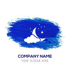 cloudstarmoon icon - blue watercolor background vector image