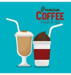 coffee cup glass and plastic with straw graphic vector image