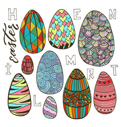 colorful easter eggs set in doodle style holiday vector image