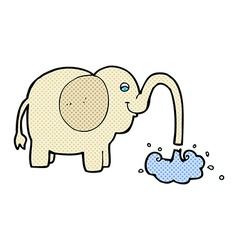 Comic cartoon elephant squirting water vector