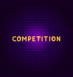 competition neon text vector image