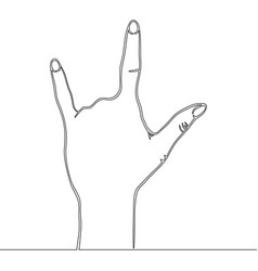 continuous one line drawn line rock gesture vector image