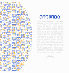 Cryptocurrency concept with thin line icons vector