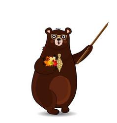 Cute cartoon bear teacher holding pointer and vector