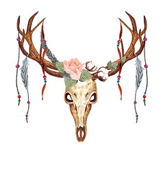 Deer Skull Rose Bead vector image