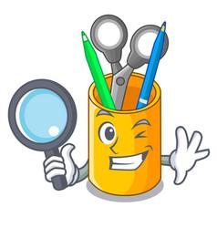 detective school organizer desktop composition on vector image