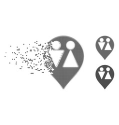 Disappearing pixel halftone wc map marker icon vector