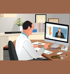 Doctor talking with patient using telehealth vector