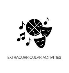 Extracurricular activities black glyph icon vector