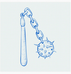 flail medieval weapon - spiked metal ball with vector image