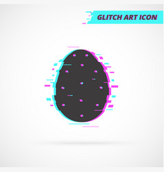 Flat easter egg glitch idea isolated icon vector