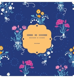 Fresh flower bouquets frame seamless pattern vector image