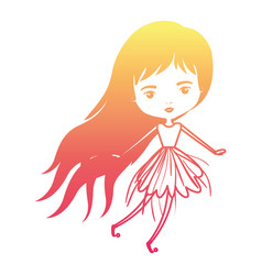 girly fairy without wings and long hair in vector image