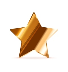 Glossy bronze rating star isolated on white vector image