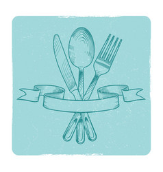Hand drawn knife spoon and fork in retro banner vector