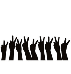 hands showing victory sign vector image