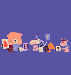 Happy cartoon animals wishing you be vector