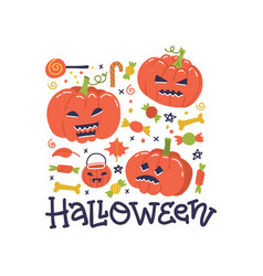 happy halloween greeting catd design autumn fall vector image