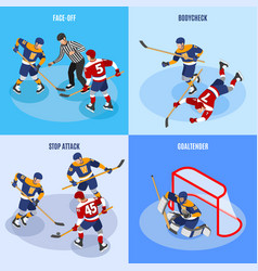 hockey isometric concept vector image