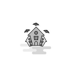 hunted house web icon flat line filled gray icon vector image