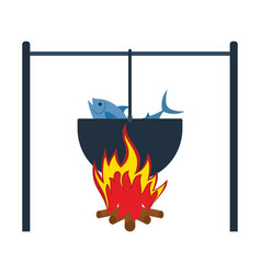 icon of fire and fishing pot vector image