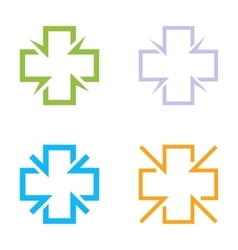 Isolated colorful cross logo set Medical vector