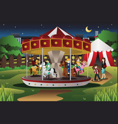 Kids on merry go round vector