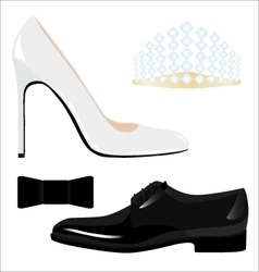 Male and female classic shoes and accessories vector