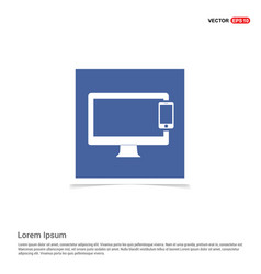 mobile with monitor icon - blue photo frame vector image