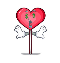 Money eye heart lollipop mascot cartoon vector