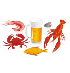 Mug of beer and snack to beer - seafood vector image