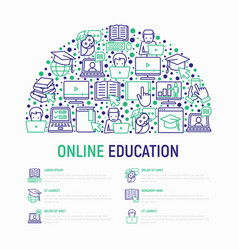 Online education concept in half circle vector