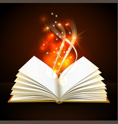 Open book with mystic bright light vector