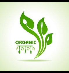 Organic food with kitchen utensils concept vector image