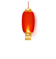 oval red chinese paper lantern or lamp for vector image