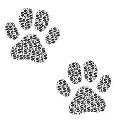 paw footprints collage of dollar and dots vector image