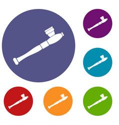 Pipe for smoking marijuana icons set vector