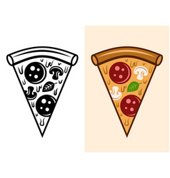 pizza slice objects in two styles vector image