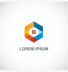 Polygon colorful home technology logo vector