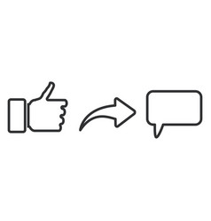 put thumb up share and comment social repost vector image