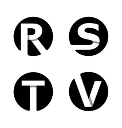 R S T V White stripe in a black circle vector image