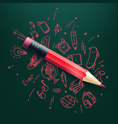 Red pencil with doodling elements science vector