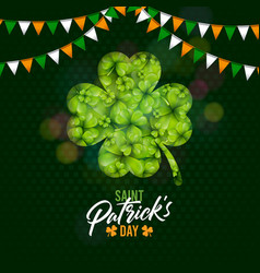 saint patricks day design with shamrock and flag vector image