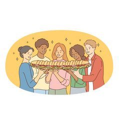 sandwich tasty food friendship concept vector image