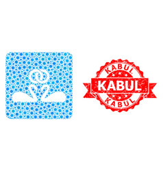 Scratched kabul seal and corona virus mosaic vector