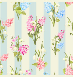 Seamless pattern siringa and galantus flowers vector